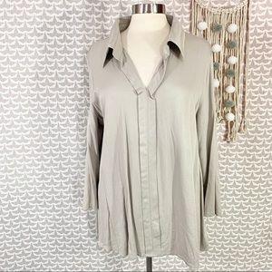 LOGO Lori Goldstein Instant Chic Rayon Cotton Top